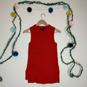 J.Crew Red Ribbed Knit Sleeveless Sweater Vest